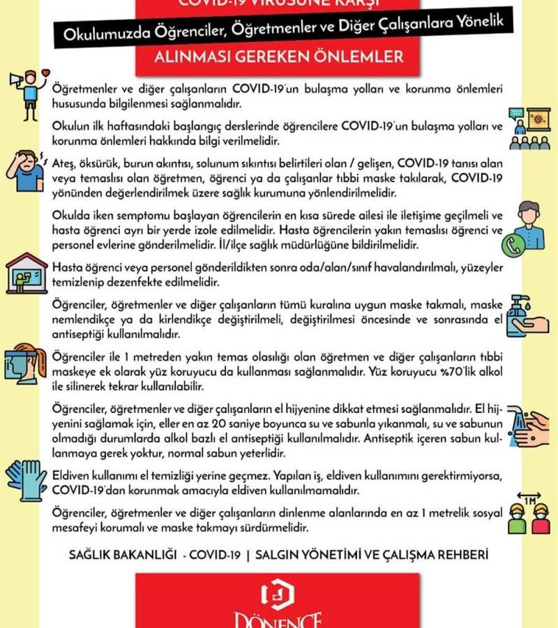COVID-19 VİRÜSÜNE KARŞI ALINMASI GEREKEN ÖNLEMLER